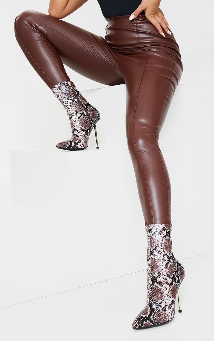 Brown Snake Metal Heeled Boots 2