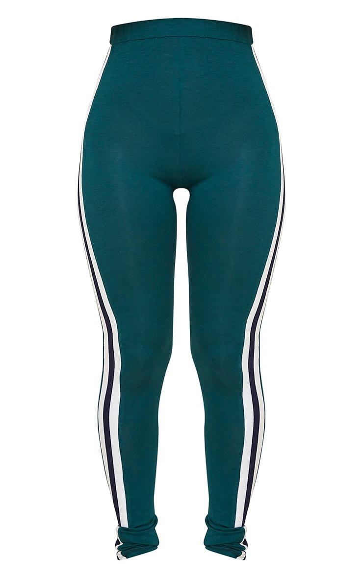 Forest Green Multi Side Stripe Leggings 5