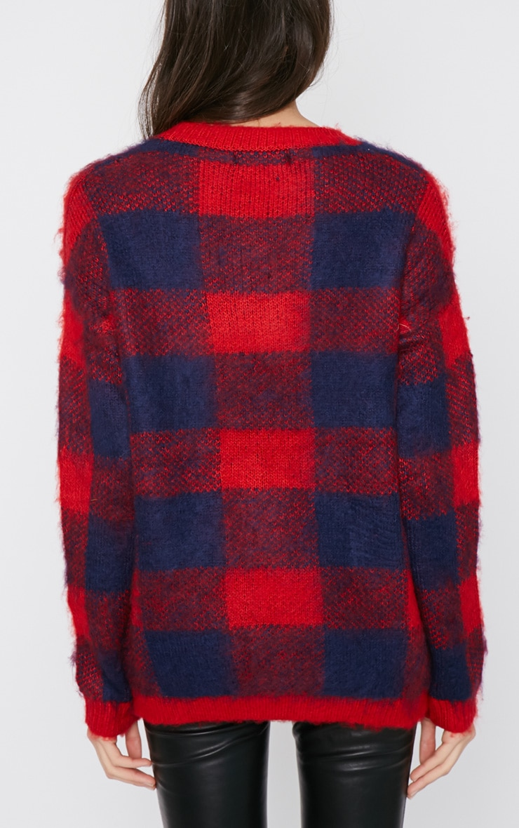 Poppy Red Checked Fluffy Jumper  2