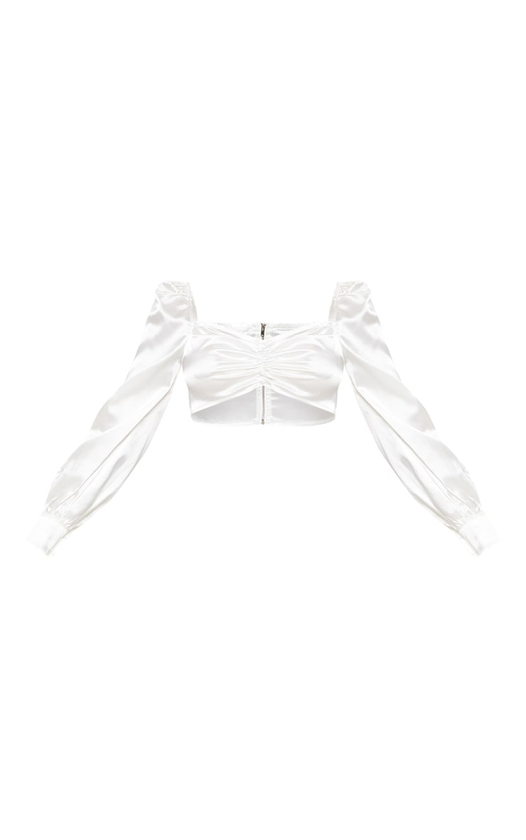 White Satin Puff Sleeve Ruched Front Crop Top  3
