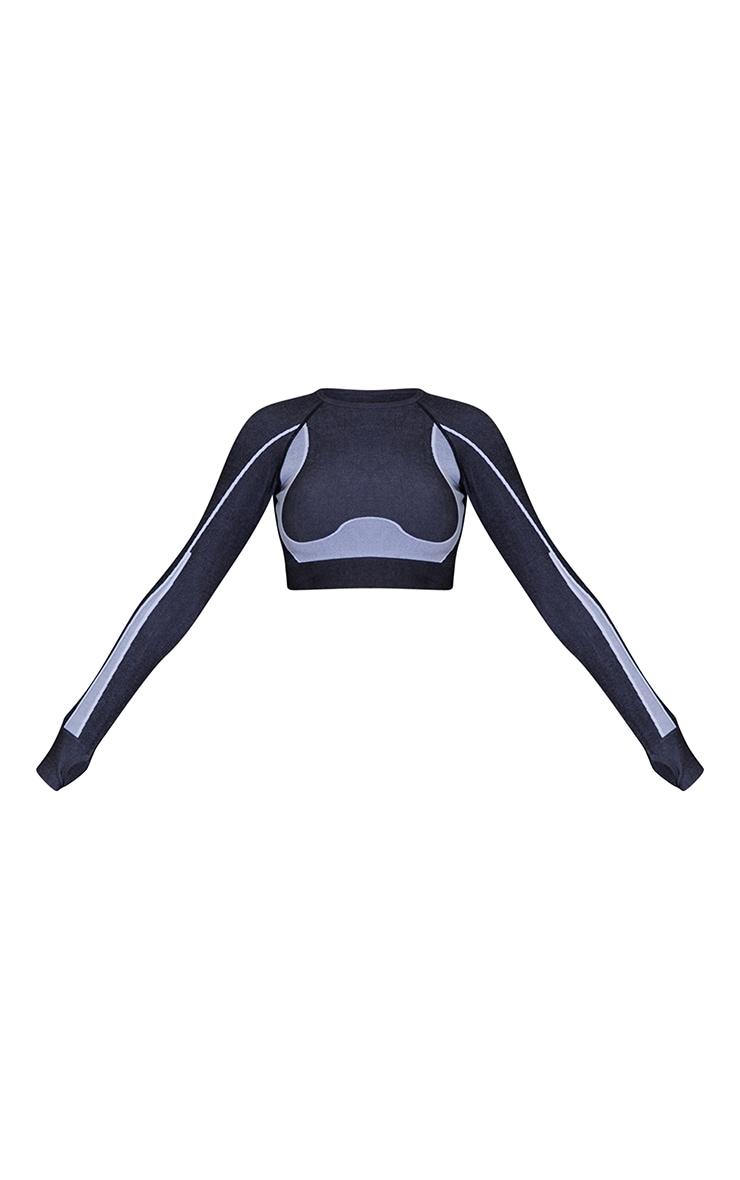 Black Seamless Contrast Marl High Waist Gym Leggings 5