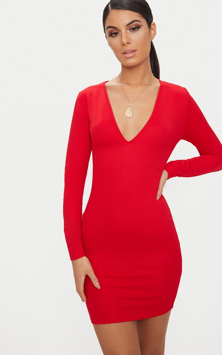 1c7682b242e6 Basic Red Long Sleeve Plunge Bodycon Dress image 1