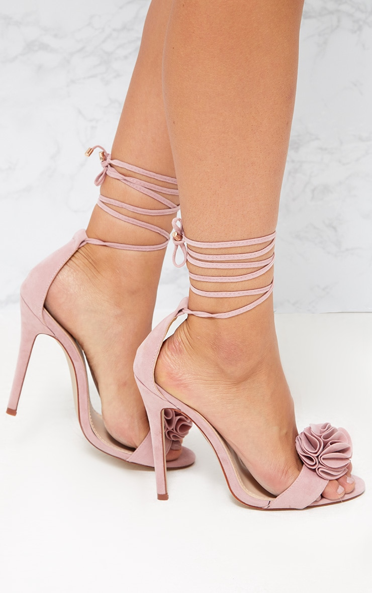 38bd5d8604cf Blush Ruffle Detail Lace Up Heels image 1