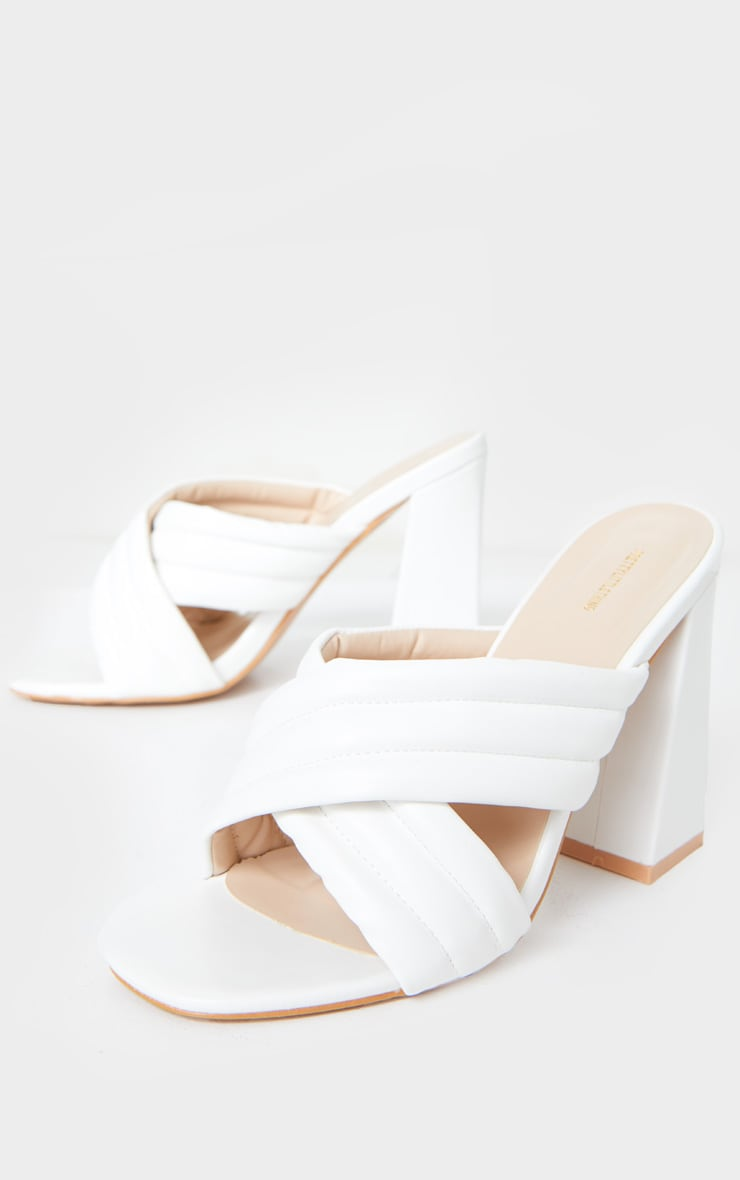 White Wide Fit Cross Strap Cushioned Mule Sandals 3