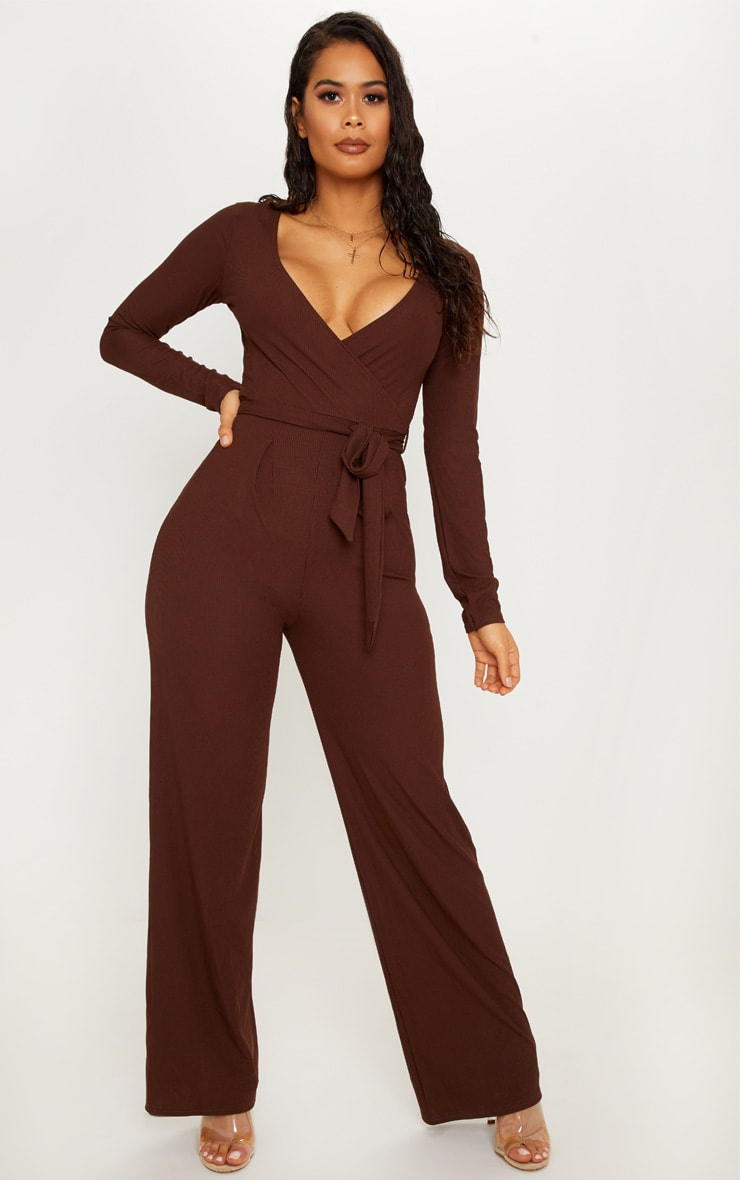 Chocolate Tie Waist Jumpsuit