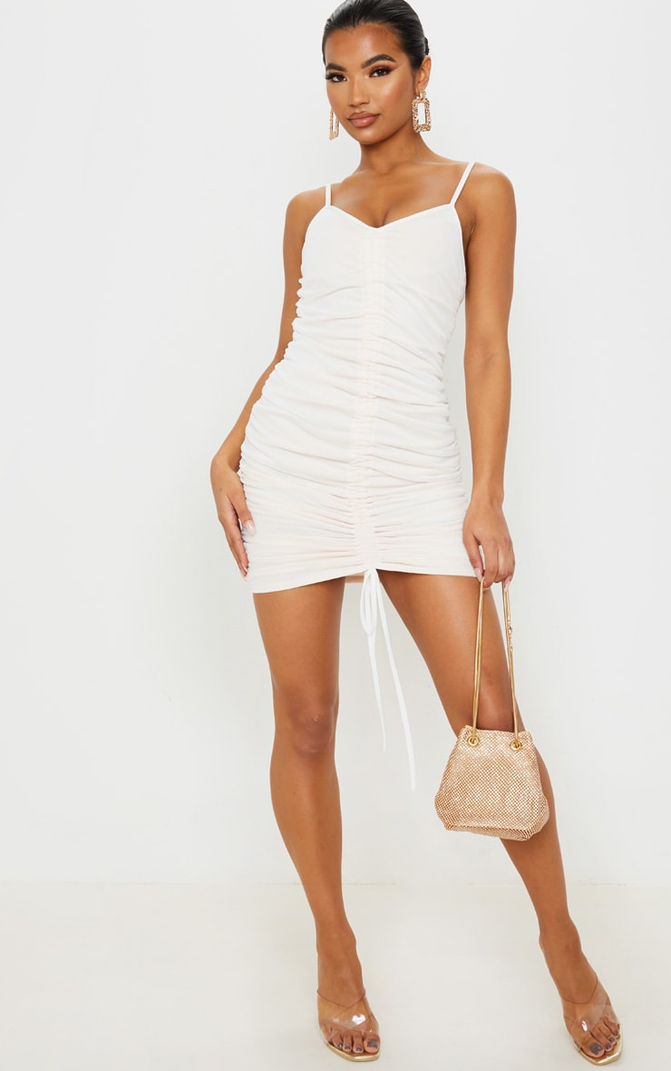 White Mesh Ruched Bodycon Dress 4