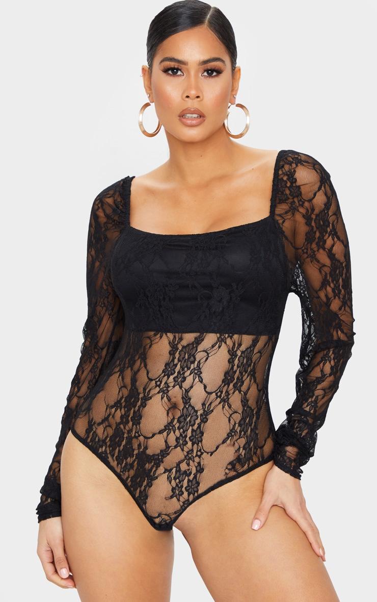 Black Lace Puff Sleeve Square Neck Bodysuit 2