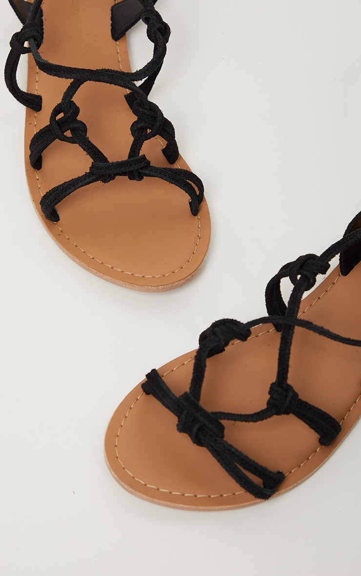 Black Knot Strappy Leather Sandal 3