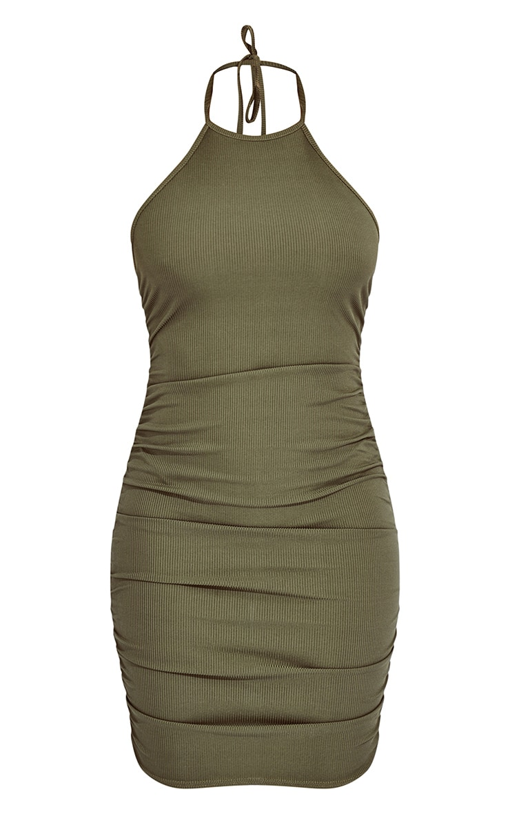 Khaki Rib Halterneck Ruched Side Bodycon Dress 5