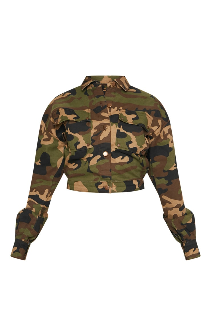 Camo Oversized Cropped Denim Trucker  image 3