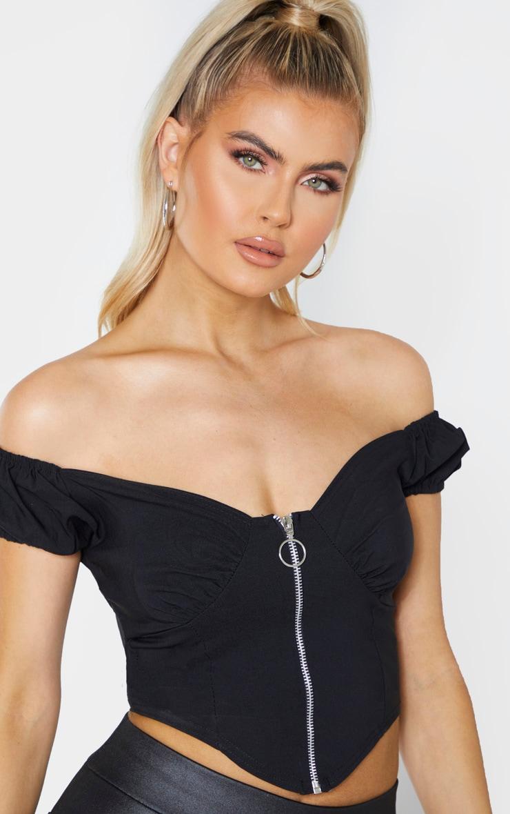 Tall Black Zip Detail Bardot Crop Top 5