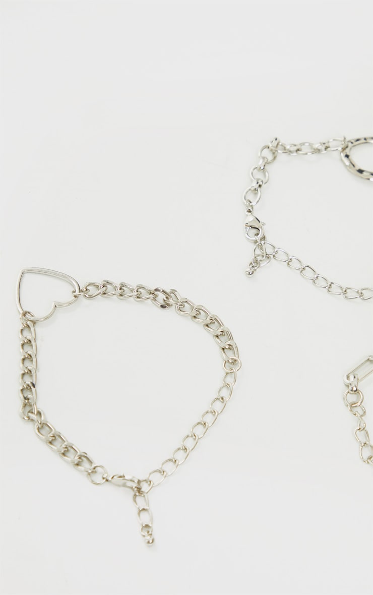 Silver Assorted Three Pack Anklets 3