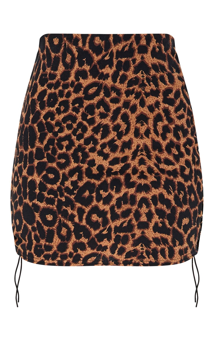 Brown Leopard Print Side Lace Up Mini Skirt 3