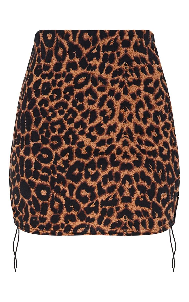 Minijupe brune léopard à lacets sur le côté 3