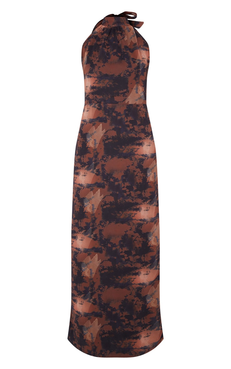 Brown Tie Dye Halterneck Chiffon Maxi Dress 5