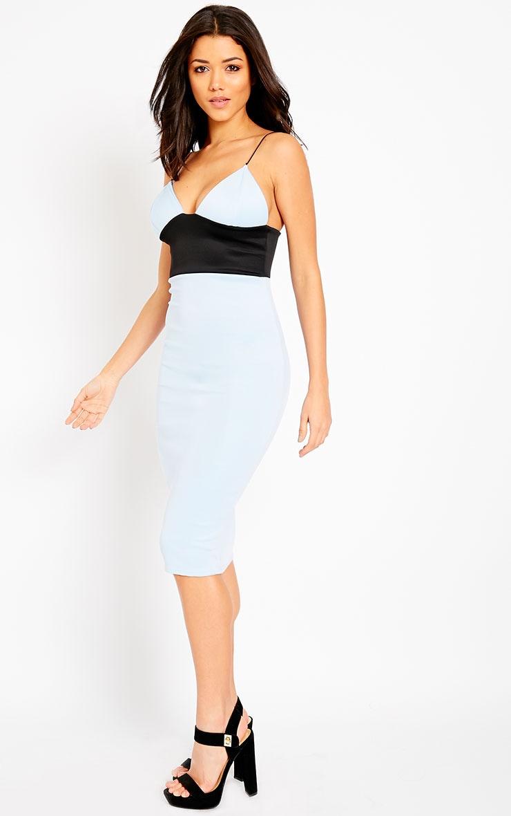 Georgia Powder Blue Colour Block Midi Dress 4