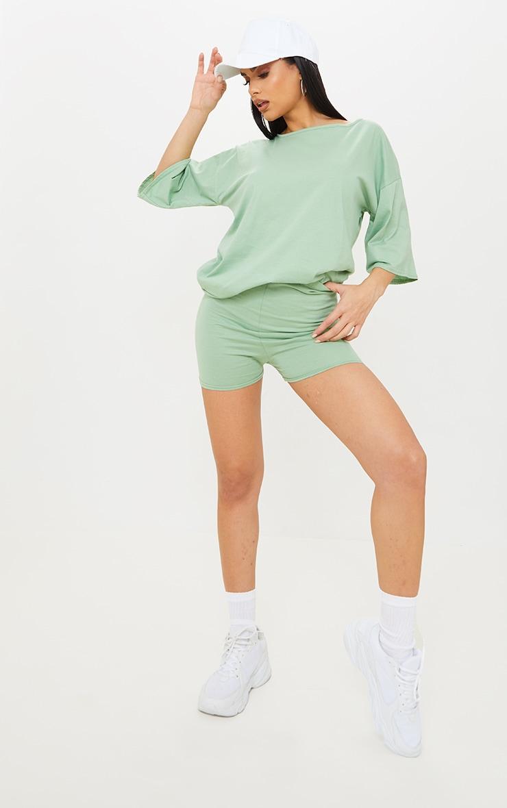 Sage Green Cotton Oversized T-Shirt & Hot Pants Set 3