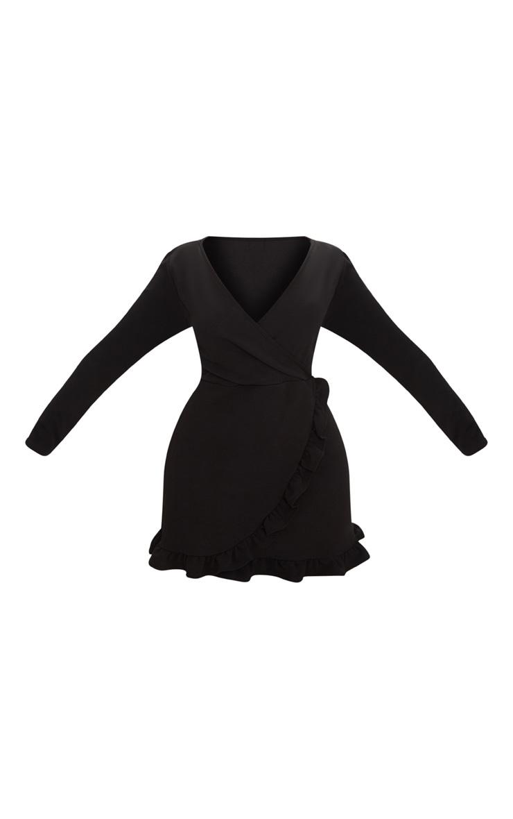 Plus Black Long Sleeve Ruffle Wrap Dress 3