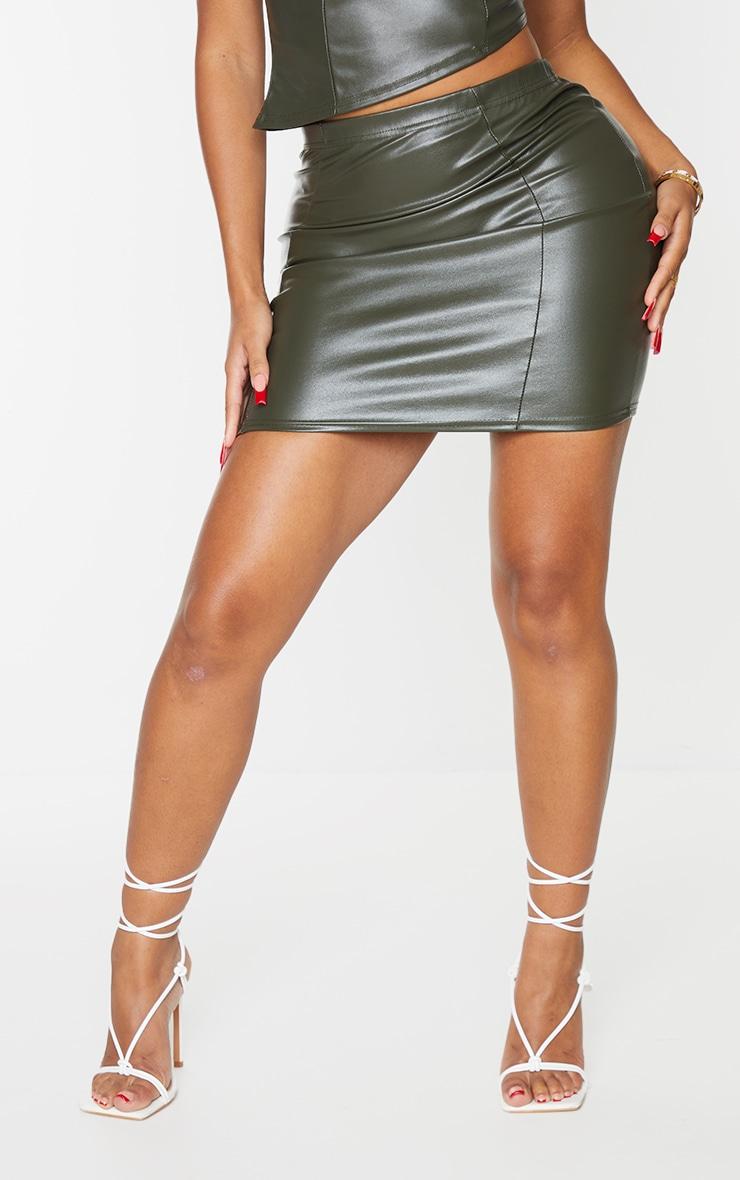 Shape Khaki PU Seam Detail Bodycon Skirt 2