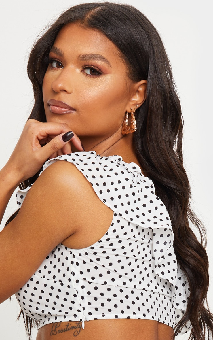 White Polka Dot Woven One Shoulder Frill Panel Crop Top 4