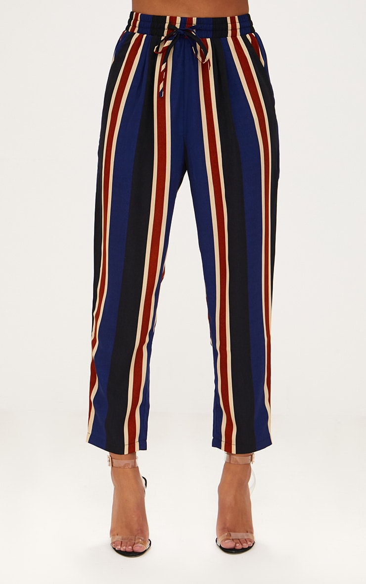 Petite Navy Stripe Casual Trousers 2