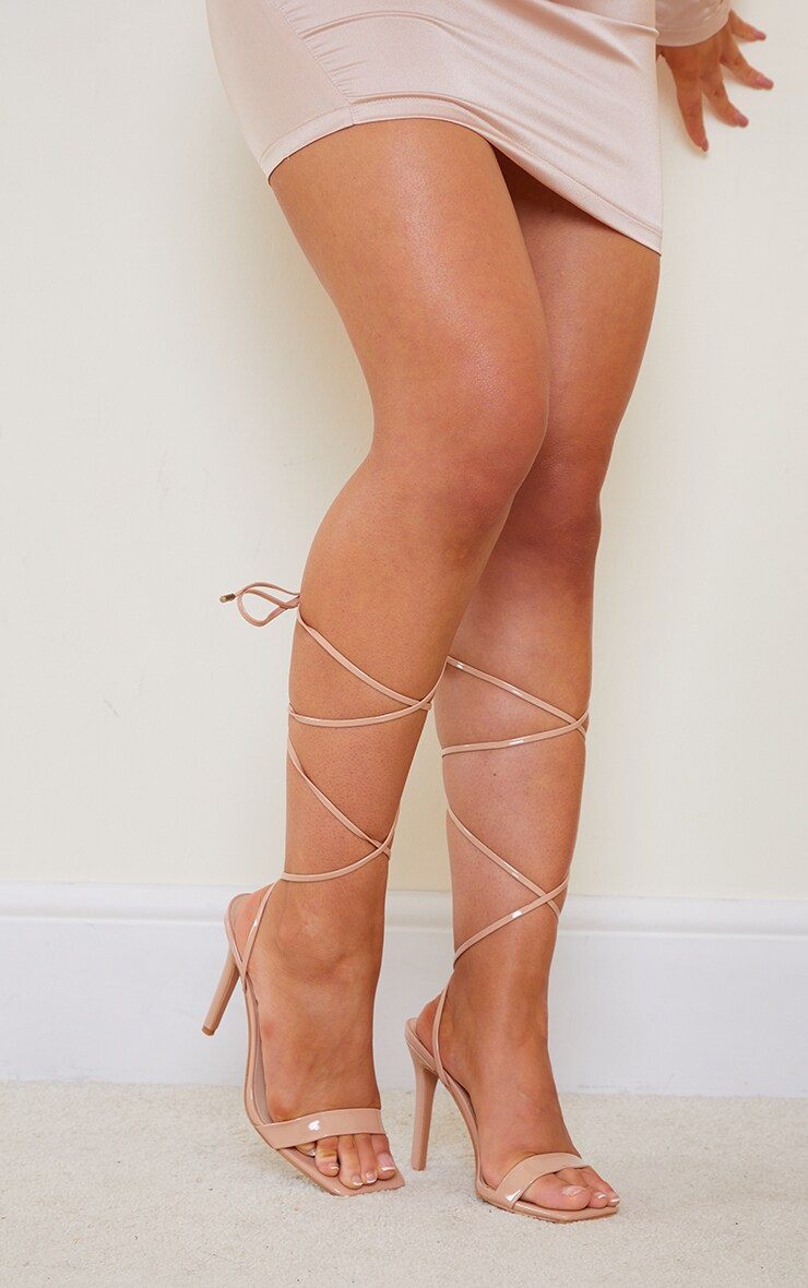 Nude PU Patent Strap Lace Up High Heels 3