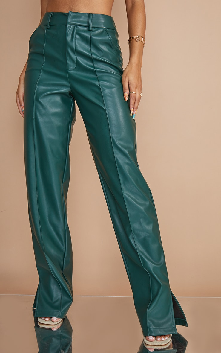 Bottle Green Faux Leather Pintuck Detail Straight Leg Trousers 2