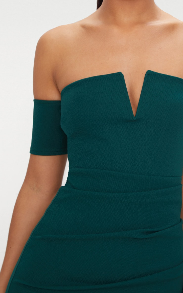 Emerald Green Bardot Wrap Front Bodycon Dress 5