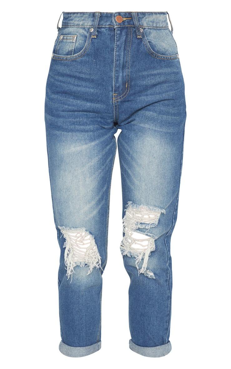 Vintage Wash Distressed Knee Straight Leg Jean 3