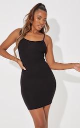 Basic Black Strappy Bodycon Dress 1