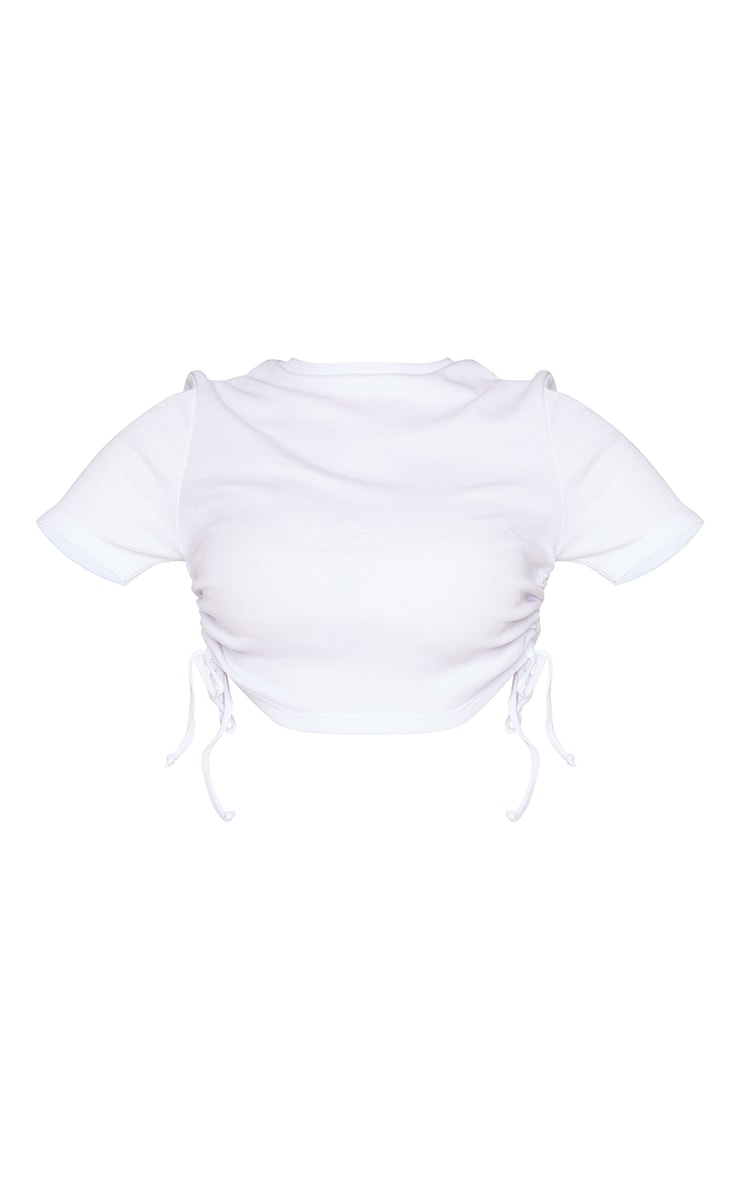Petite White Ruched Lace up Ribbed T Shirt  5