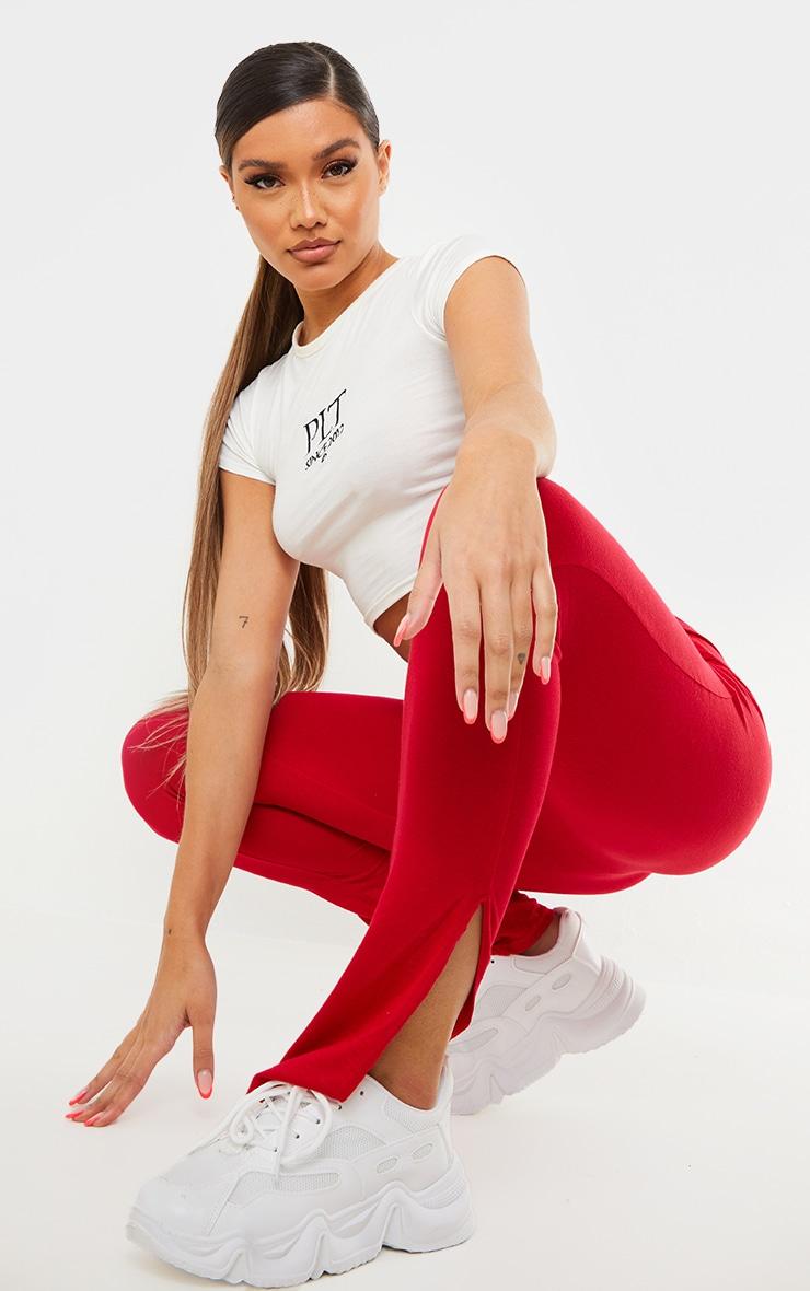 Red Basic Jersey Split Hem Legging 1