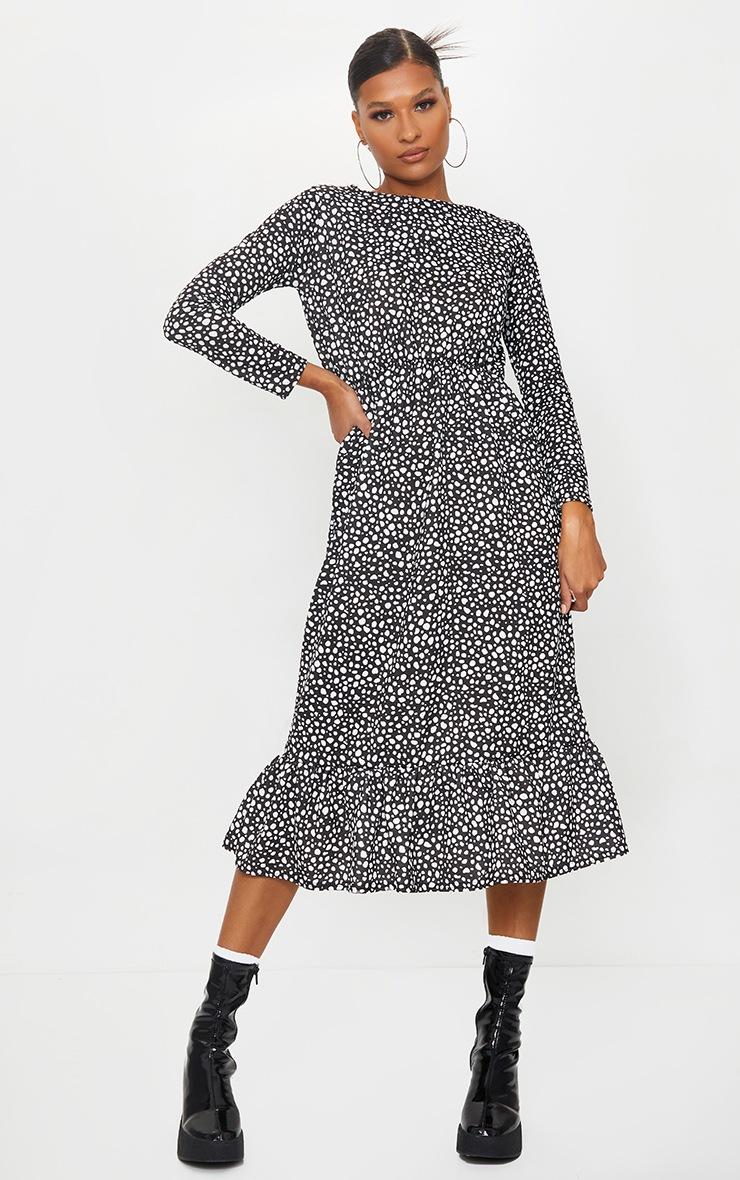 Black Dalmatian Print Drop Frill Hem Midi Smock Dress 3