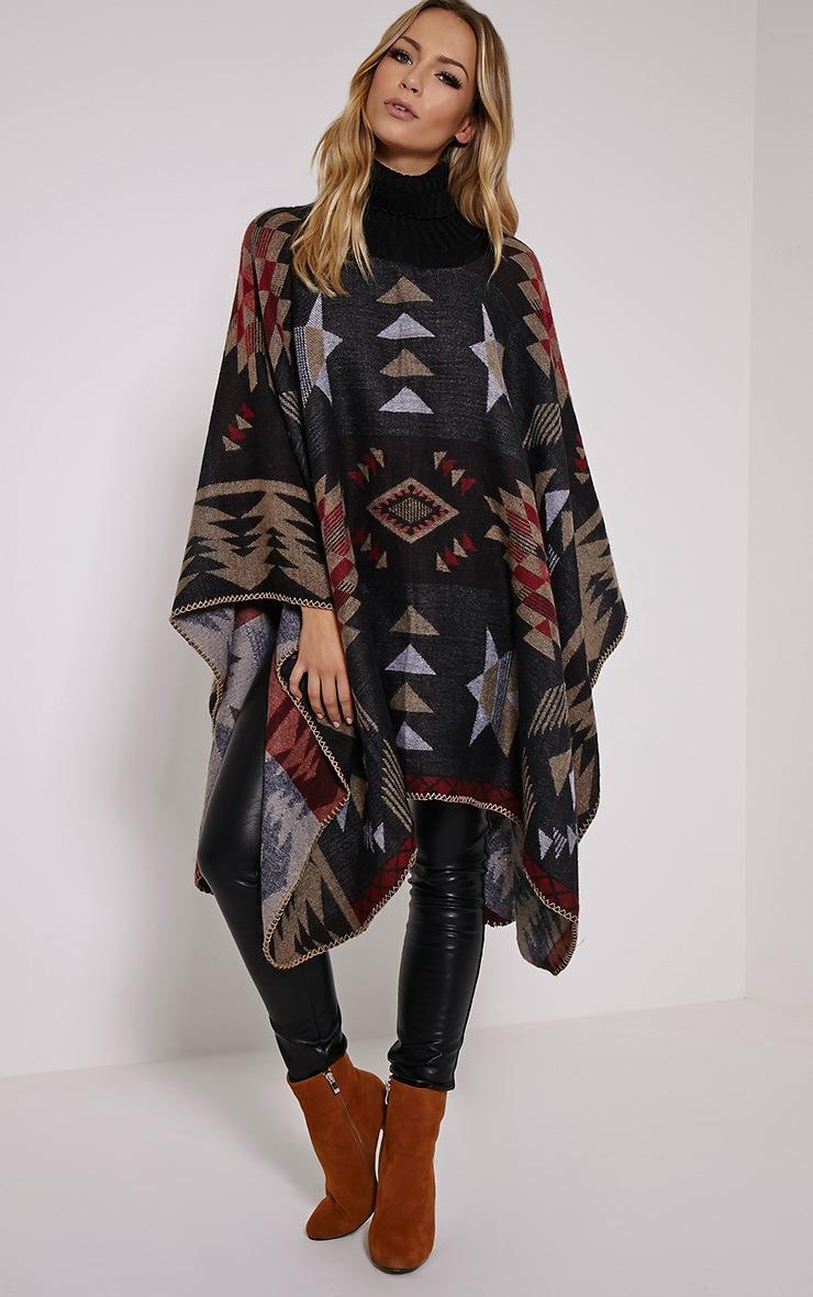 Jeska Black Knitted Neck Aztec Cape 4