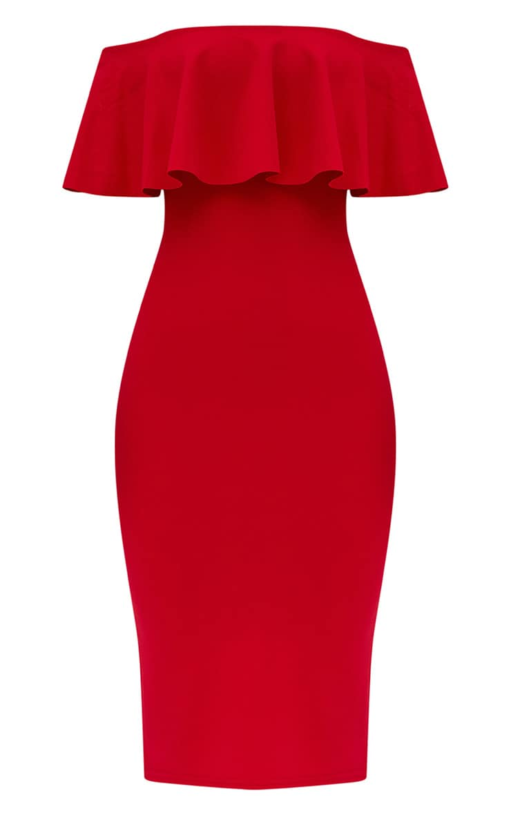 Red Bardot Frill Midi Dress  3