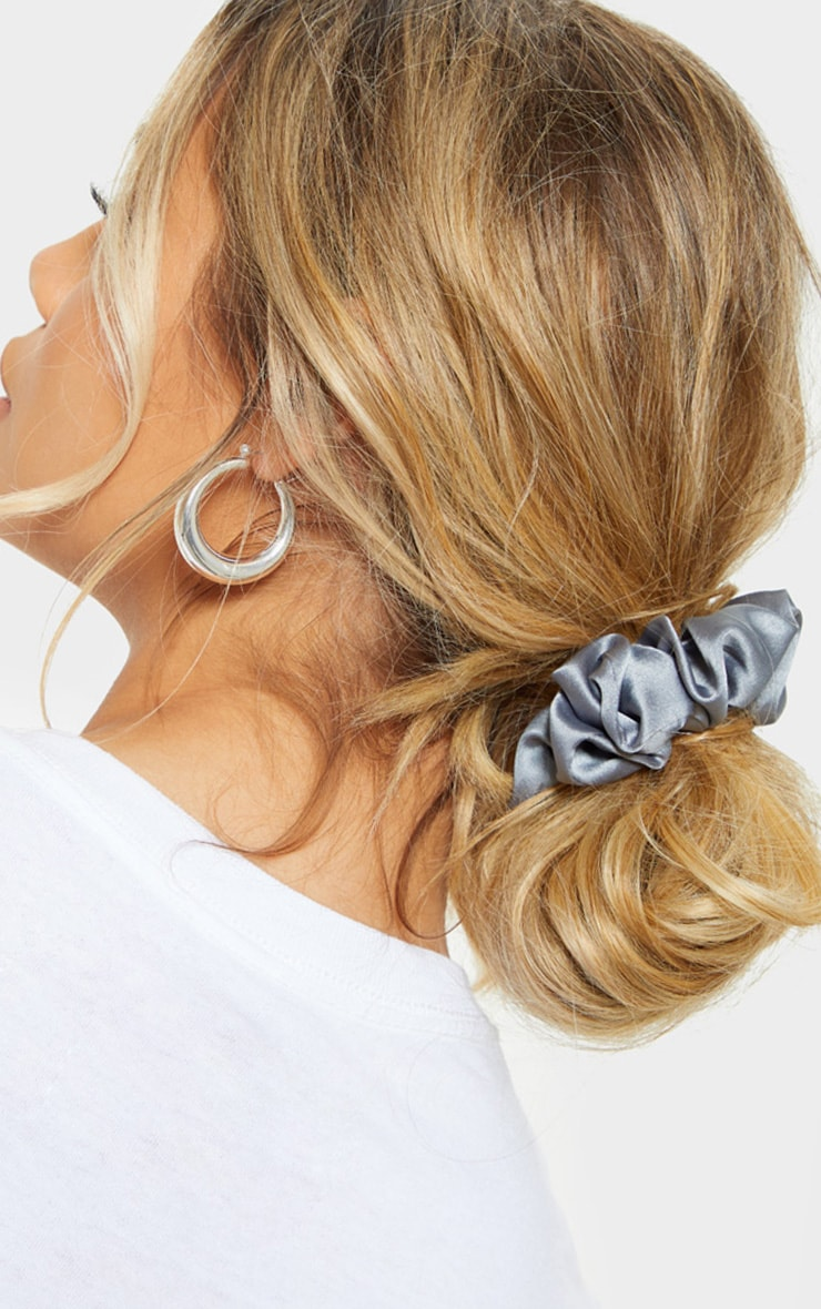 Grey Satin Scrunchie 1