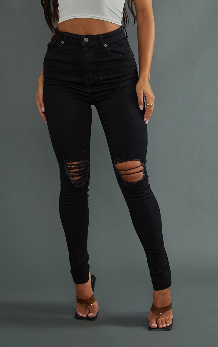 PRETTYLITTLETHING Black 5 Pocket Knee Rip Skinny Jean 2