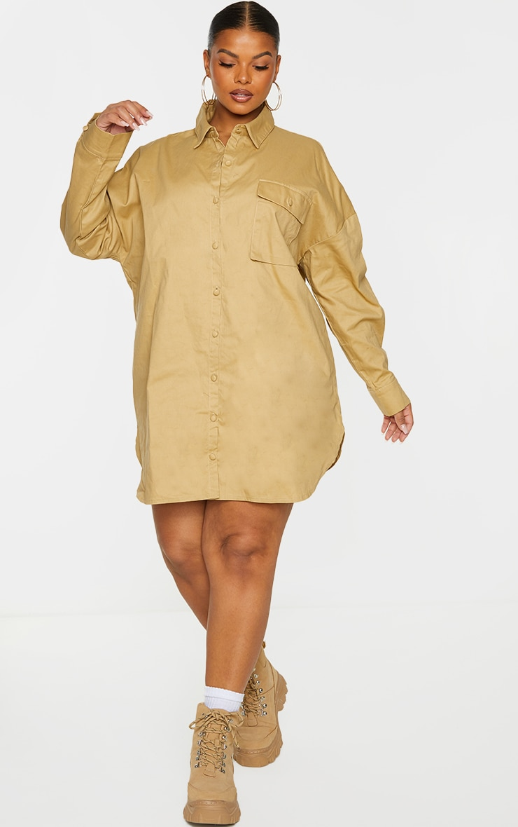 PRETTYLITTLETHING Plus Sand Embroidered Oversized Shirt Dress 1