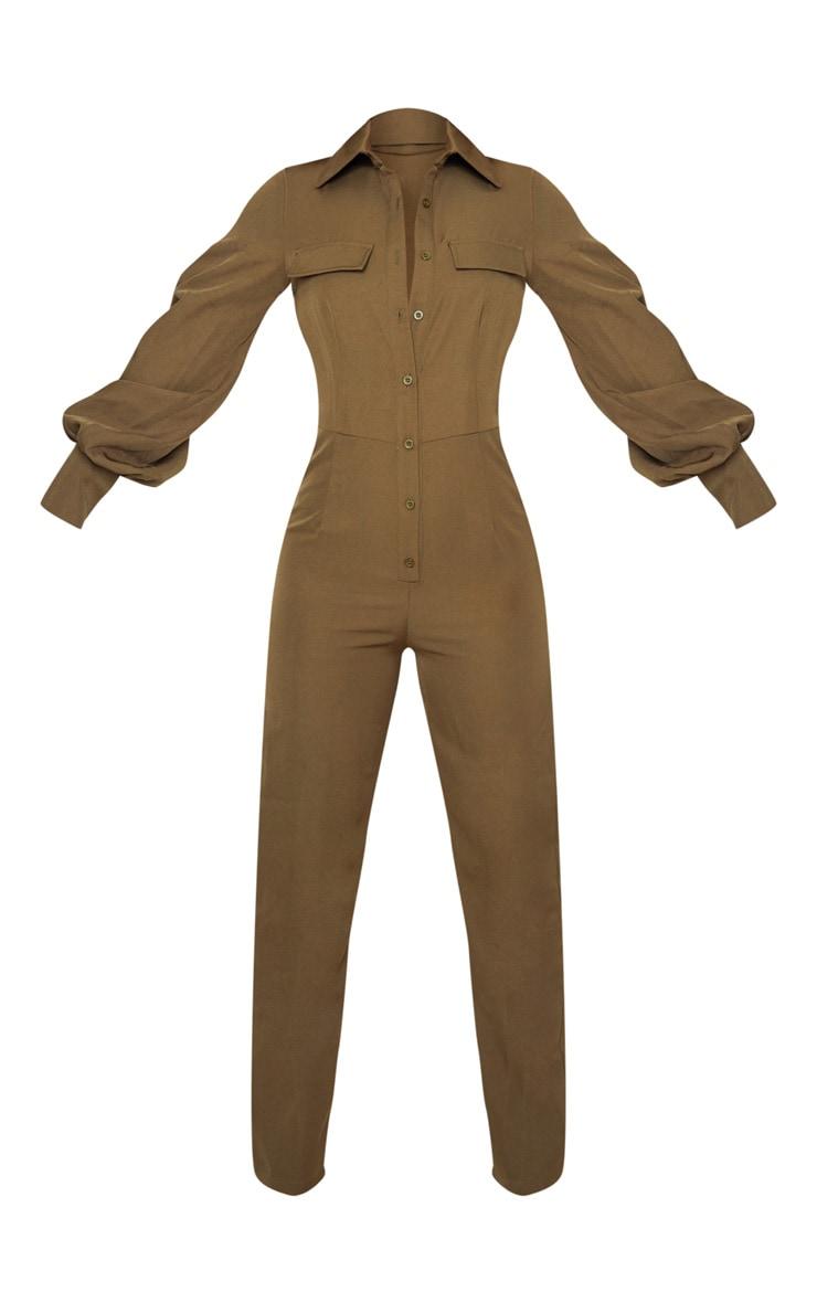 Petite Khaki Full Sleeve Pocket Detail Jumpsuit 3