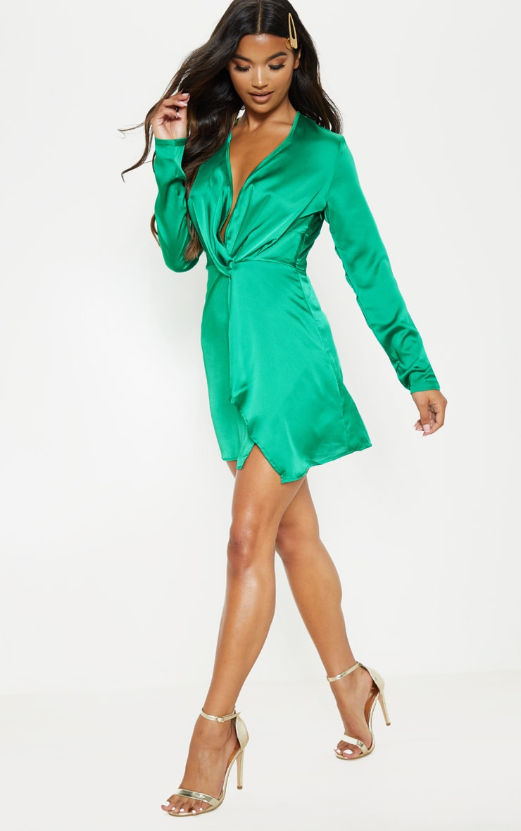 Green Satin Long Sleeve Wrap Dress  4