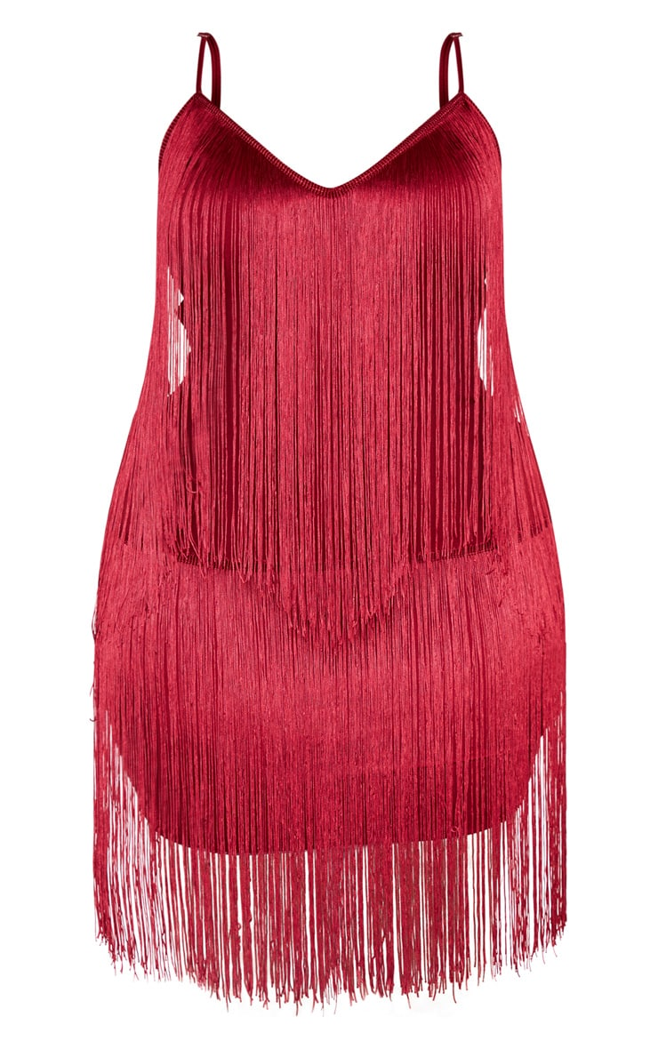 Plus Burgundy Tassel Bodycon Dress  3