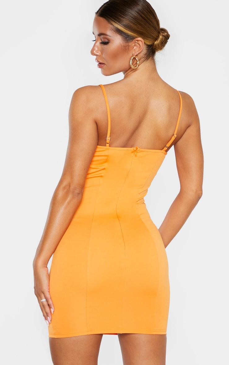 Robe moulante orange à bretelles fines et armatures  3