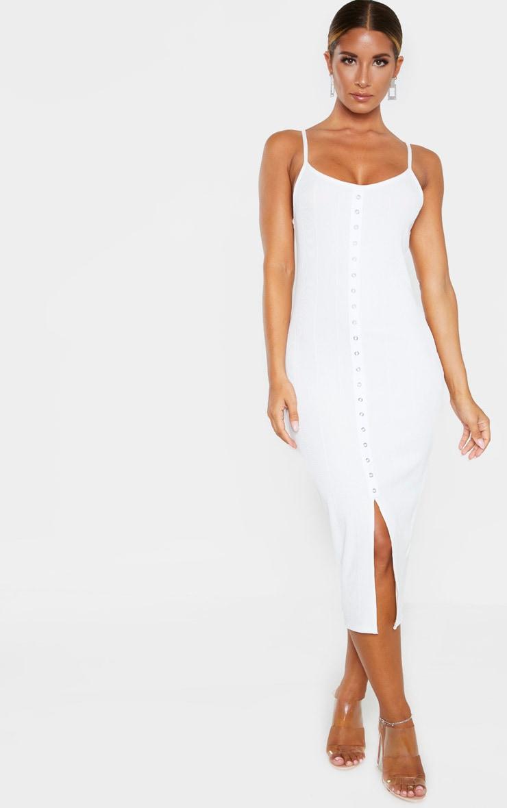White Bandage Rib Strappy Eyelet Detail Midi Dress 1