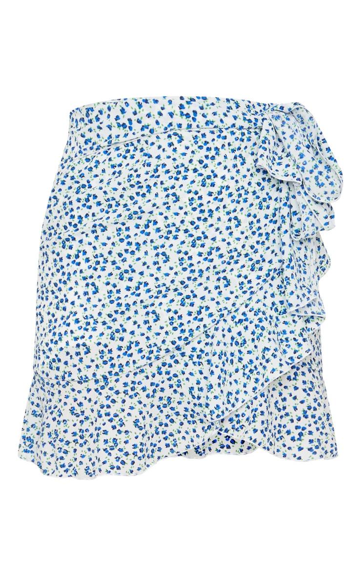 Blue Floral Tie Detail Frill Edge Wrap Mini Skirt 6