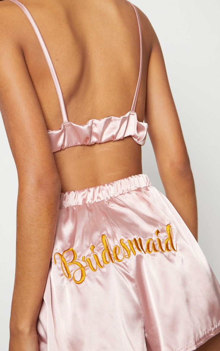 Satin Bridesmaid Embroidered Strappy Short PJ Set 5