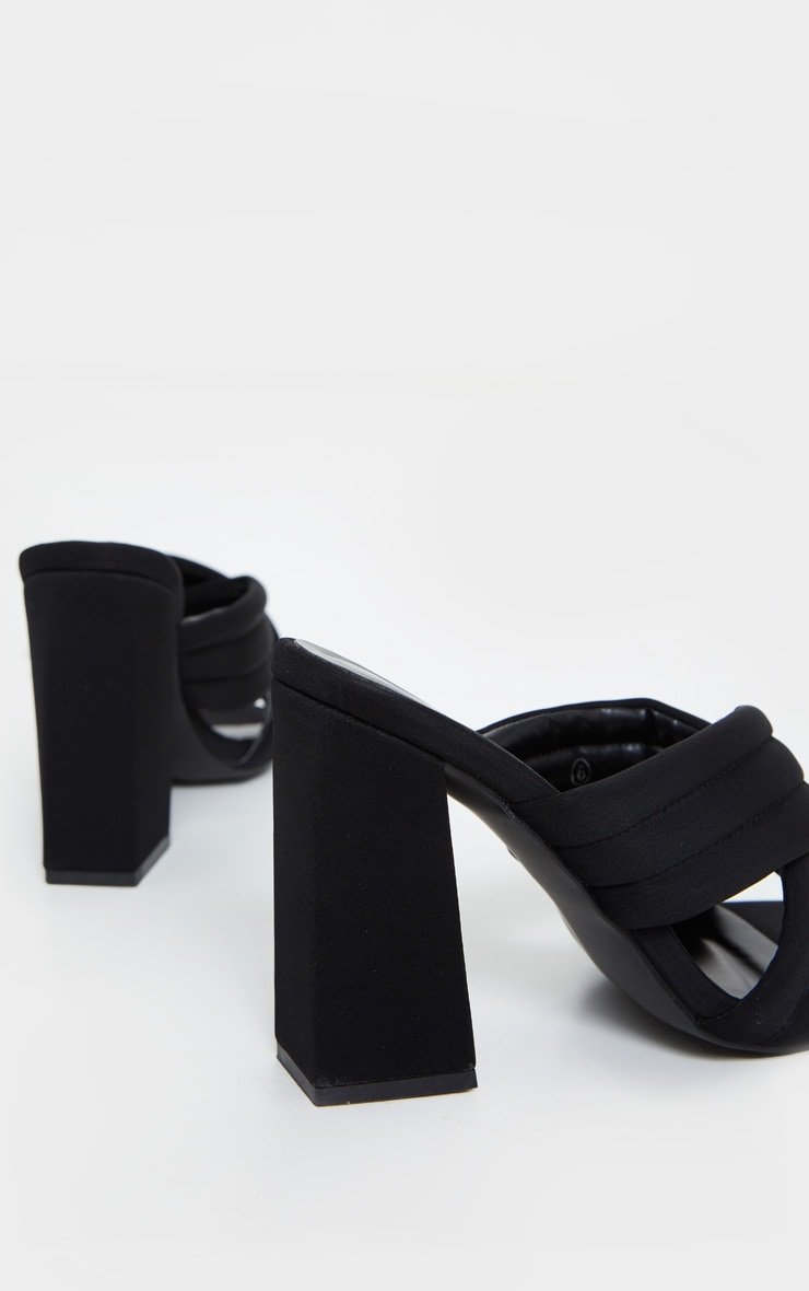 Black Wide Fit Cross Strap Cushioned Mule Sandals 4
