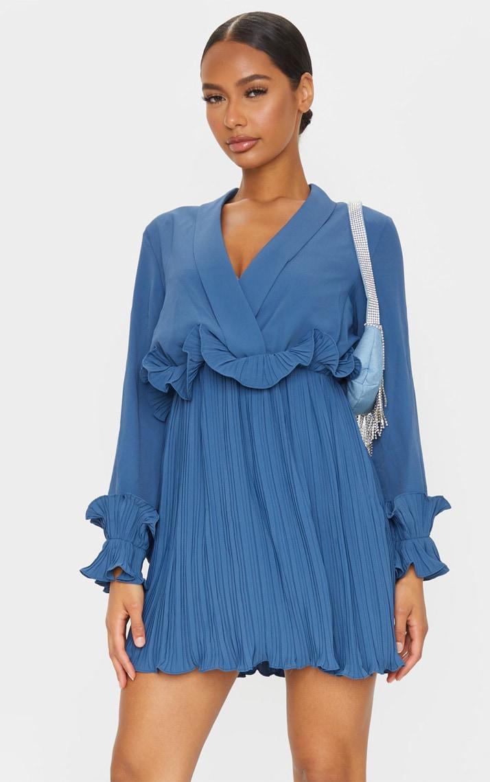 Steel Blue Long Sleeve Pleated Skater Dress 1