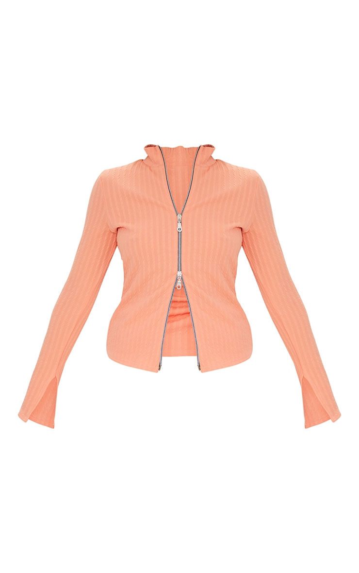 Petite Peach Double Zip Crinkle Top 5