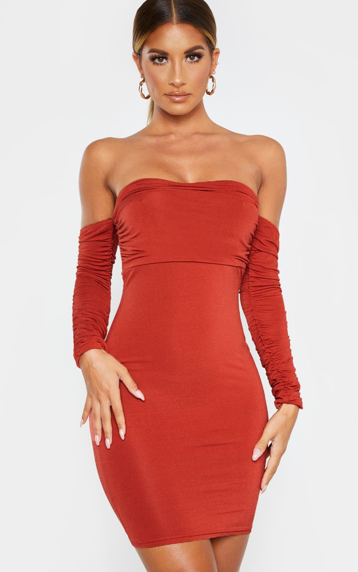 Rust Ruched Front Ruched Arm Bardot Bodycon Dress 1