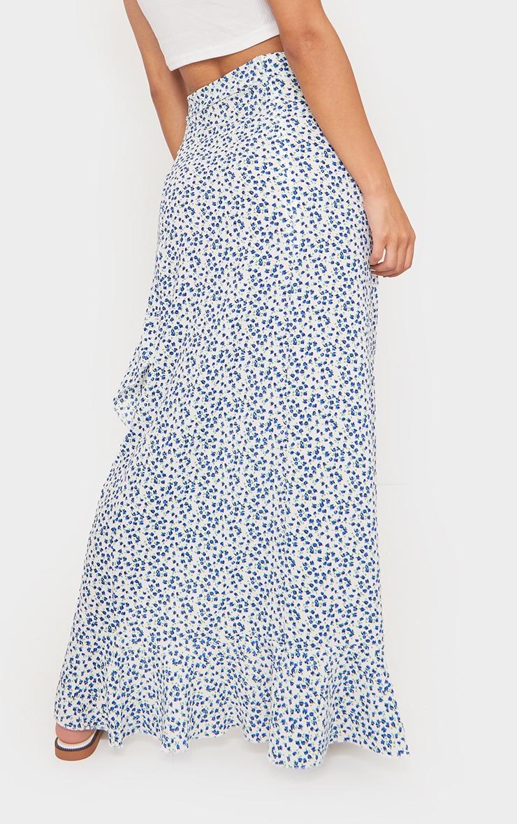 Blue Floral Woven Frill Hem Midi Skirt 3